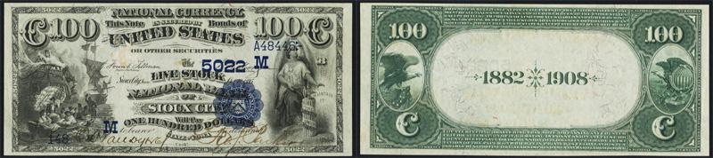 1882 $100.00 Date Back