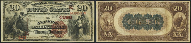 Series 1882 $20.00 Brownback National Currency