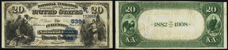 1882 $20.00 Date Back