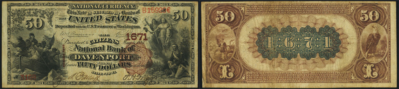 Series 1882 $50.00 Brownback National Currency