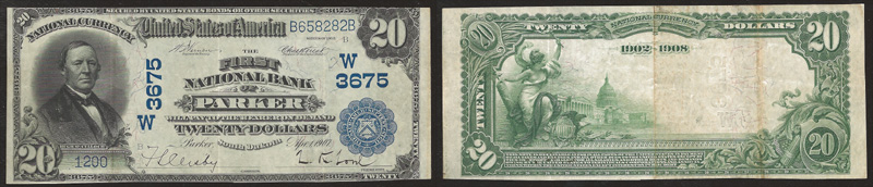 Series 1902 $20.00 Blue Seal National Currency