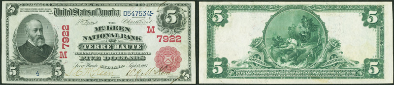 Series 1902 $5.00 Red Seal National Currency
