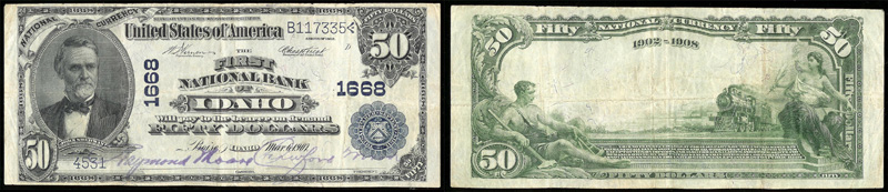 Series 1902 $50.00 Blue Seal National Currency