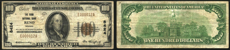 Series 1929 $100.00 small sized national bank note