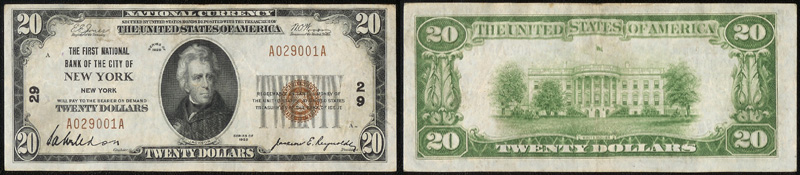 Series 1929 $20.00 small sized national bank note