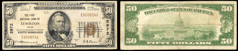 Series 1929 $50.00 small sized national bank note