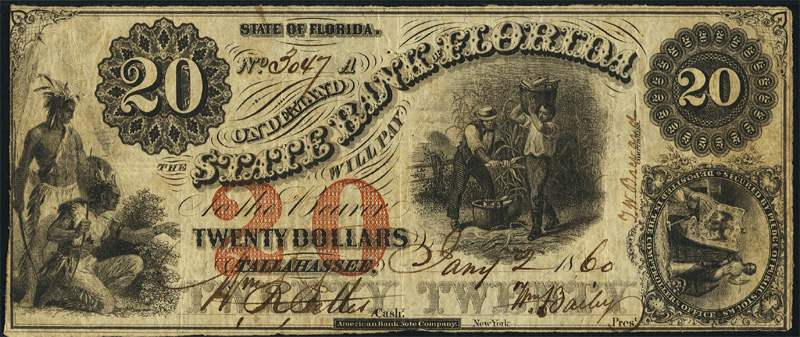 An 1860 $20.00 Obsolete note from the State bank of Florida