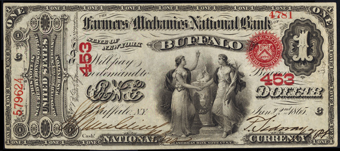 1865 One Dollar Bill National Currency Original Series Note