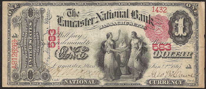 1877 One Dollar Bill National Currency Original Series Note