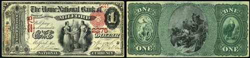 1875 One Dollar Bill National Currency Note