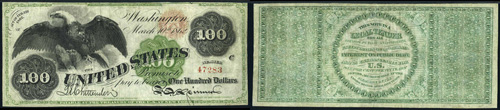 1862 One Hundred Dollar Bill Legal Tender