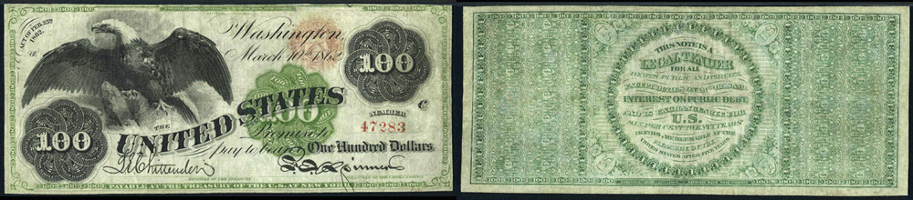 1862 One Hundred Dollar Bill Legal Tender Note