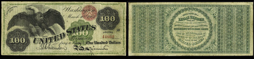 1863 One Hundred Dollar Bill Legal Tender
