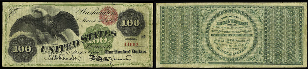 1863 One Hundred Dollar Bill Legal Tender Note