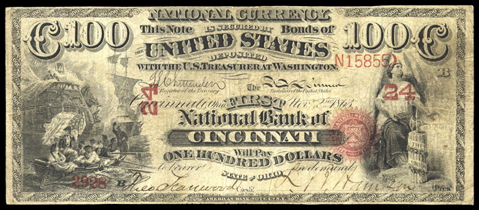1867 Hundred Dollar Bill National Currency Note