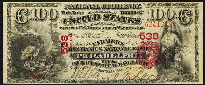 1876 Hundred Dollar Bill National Currency Note