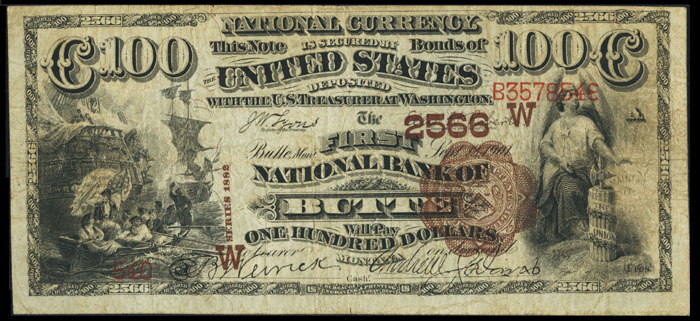 1895 One Hundred Dollar Bill National Currency Note