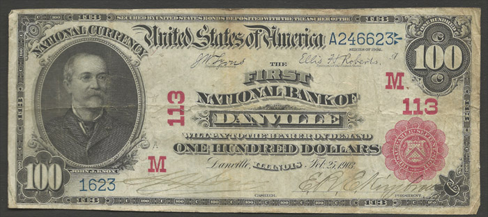 1907 One Hundred Dollar Bill National Currency Note