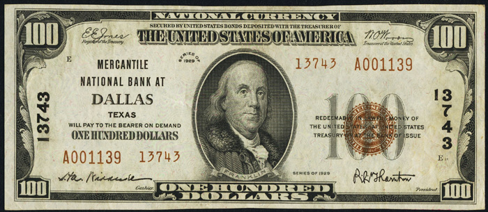 1929 Hundred Dollar Bill National Currency Note Type 2