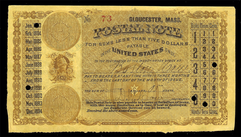 Postal Note 1883 Type 1 on Gloucester, Mass - Front