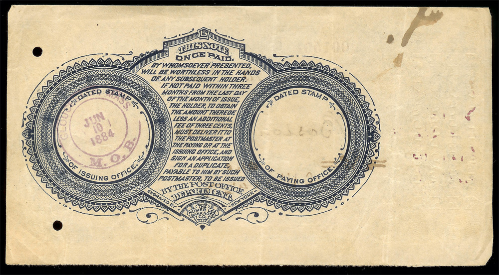 Postal Note 1884 on Gloucester, Mass - Back