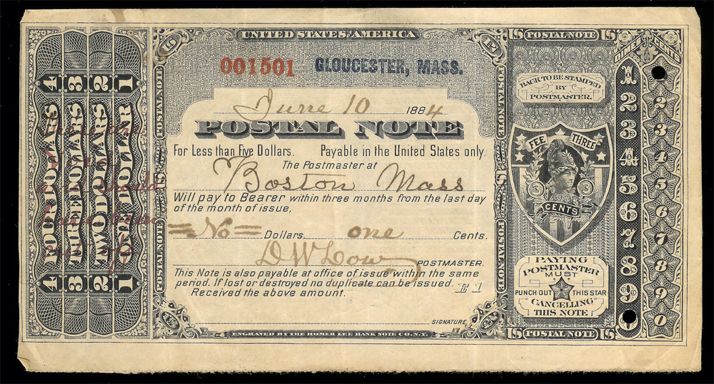 Postal Note 1884 on Gloucester, Mass - Front