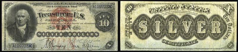 1878 $10 Dollar Silver Certificate