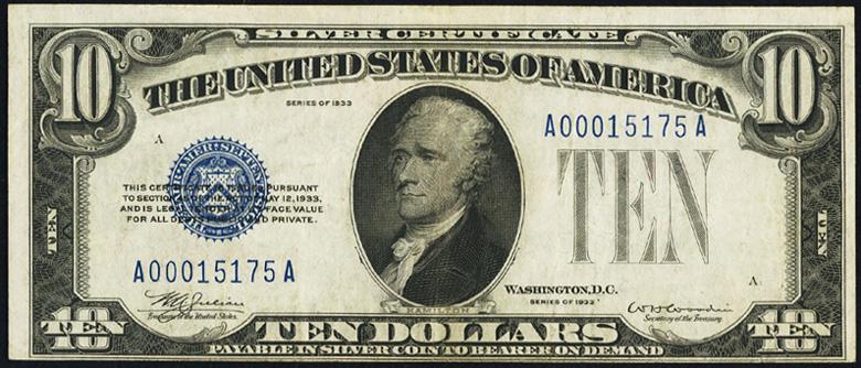 1933 $10 dollar bill Silver Certificate