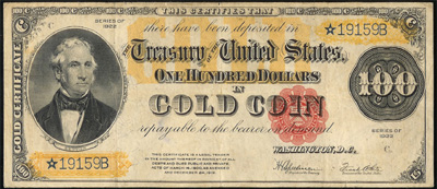 Series 1922 $100.00 Gold Certificate Star Note