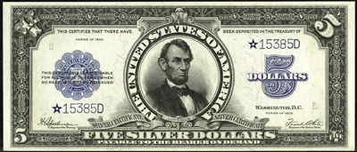 Series 1923 $5.00 Silver Certificate Star Note