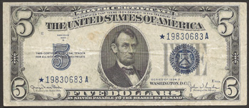 Series 1934-D $5.00 Silver Certificate Star Note