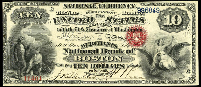 1865 Ten Dollar Bill National Currency Original Series Note