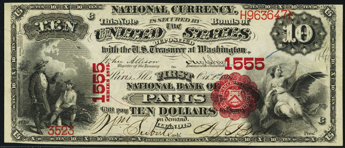 1876 Ten Dollar Bill National Currency Note