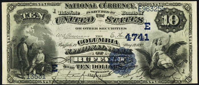 1908 Ten Dollar Bill National Currency Blue Seal Note