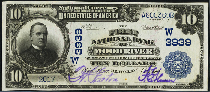 1913 Ten Dollar Bill National Currency Blue Seal Note
