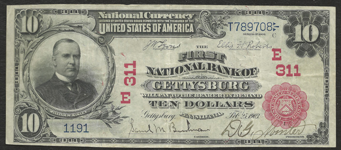 1908 Ten Dollar Bill National Currency Red Seal Note