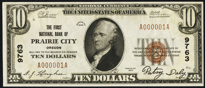 1929 Ten Dollar Bill National Currency Note Type 1