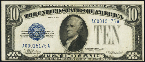 1933 Ten Dollar Bill Silver Certificate