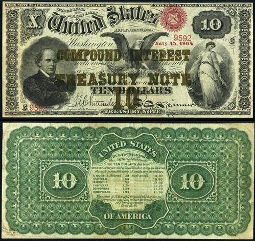Ten Dollar Bill Compound Interest Treasury Note Series 1864