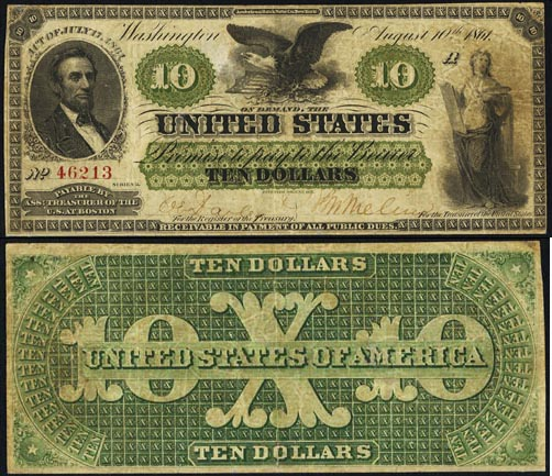 1861 Ten Dollar Bill Demand Note