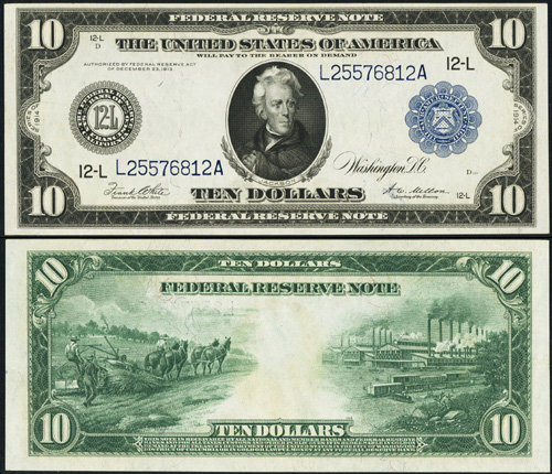 1914 Ten Dollar Bill Federal Reserve Blue Seal Note