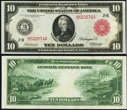 1914 Ten Dollar Bill Federal Reserve Red Seal Note