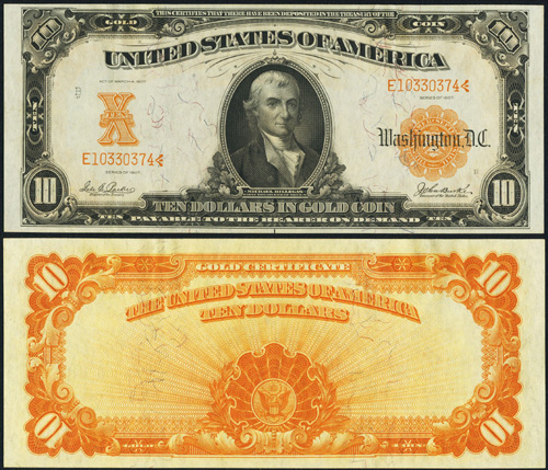 1907 Ten Dollar Bill Gold Certificate Value Information and