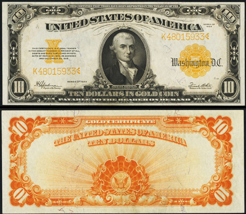 1922 Ten Dollar Bill Gold Certificate Note