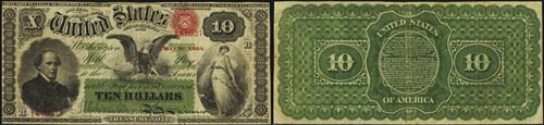 1864 Ten Dollar Bill Interest Bearing Note