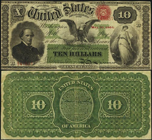 Ten Dollar Bill Interest Bearing Legal Tender Series 1864
