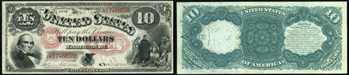 1875 Ten Dollar Bill Legal Tender Jackass Note