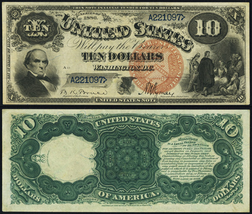 1880 Ten Dollar Bill Legal Tender Jackass Note