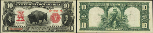 1901 Ten Dollar Bill Legal Tender Bison Note