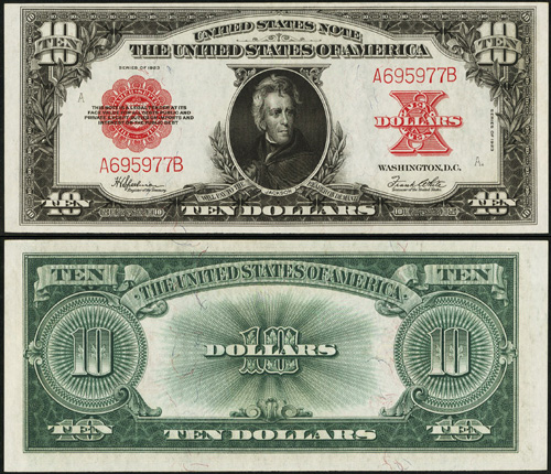 1923 $10 Ten Dollar Bill Legal Tender Note